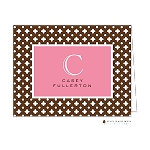 Brown Fenced Pink Custom Folded Thank You Card by Stacy Claire Boyd
