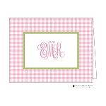 Pink Gingham Custom Folded Thank You Card by Stacy Claire Boyd