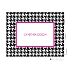 Black Houndstooth with Pink Custom Folded Thank You Card by Stacy Claire Boyd