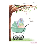 Green Carriage Custom Folded Thank You Card by Stacy Claire Boyd