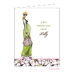 Blonde Mom in Green Custom Folded Thank You Card by Stacy Claire Boyd