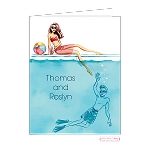 Poolside Couple Custom Folded Thank You Card by Bonnie Marcus
