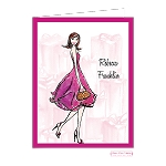Chic Girl in Purple Custom Folded Thank You Card by Bonnie Marcus