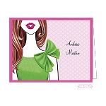 Brunette in Lime Custom Folded Thank You Card by Bonnie Marcus