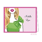 Blonde in Lime Custom Folded Thank You Card by Bonnie Marcus