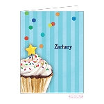 Blue Cupcake Custom Folded Thank You Card by Bonnie Marcus