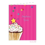 Pink Cupcake Custom Folded Thank You Card by Bonnie Marcus