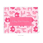 Pink Zoo Animals Custom Folded Thank You Card by Take Note Designs