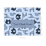 Blue Zoo Animals Custom Folded Thank You Card by Take Note Designs