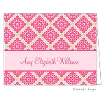 Bright Pink Patterned Custom Folded Thank You Card by Take Note Designs