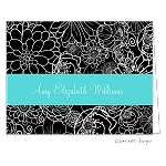 Turquoise Ribbon Floral Custom Folded Thank You Card by Take Note Designs