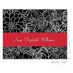 Red Ribbon Floral Custom Folded Thank You Card by Take Note Designs