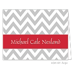 Grey Chevron Red Ribbon Custom Folded Thank You Card by Take Note Designs