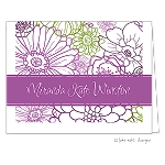 Bright Purple Floral Custom Folded Thank You Card by Take Note Designs