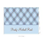 Blue Plaid Custom Folded Thank You Card by Take Note Designs