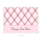 Pink Plaid Custom Folded Thank You Card by Take Note Designs