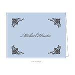 Floral Elements in Blue Mobile Custom Folded Thank You Card by Take Note Designs