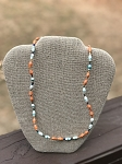 Orange with Light Blue - Handcrafted Bead Necklace