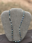 Blue with Black Seperators - Handcrafted Bead Necklace