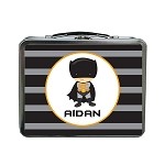 Grey and Black Striped Caped Superhero Inspired Custom Lunch Box