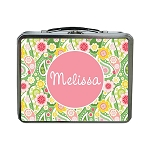 Crazy Green Paisley Personalized Lunch Box