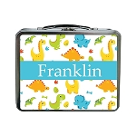 Multicolored Dinosaurs with Blue Ribbon Personalized Lunch Box