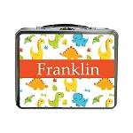 Multicolored Dinosaurs with Red Ribbon Personalized Lunch Box