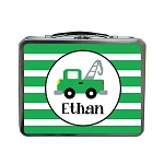 Green Striped Tow Truck Custom Lunch Box