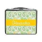 Mint Green Paisley Personalized Lunch Box