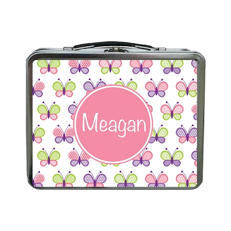 Multicolored Butterflies With Pink Personalized Lunch Box