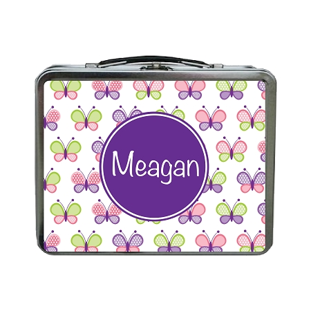 Multicolored Butterflies With Purple Personalized Lunch Box