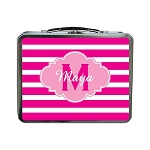 Pink Striped Pink Cloud Personalized Lunch Box