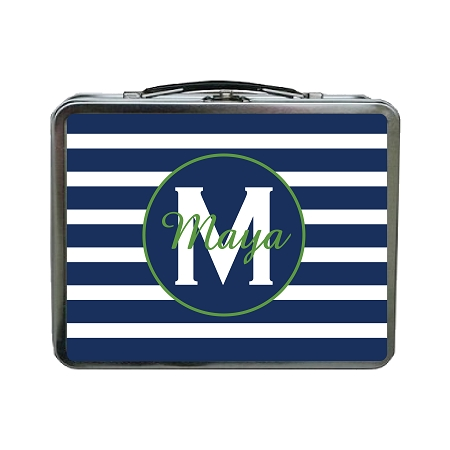 Blue Striped Green Accent Personalized Lunch Box