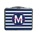 Blue Striped Pink Accent Personalized Lunch Box
