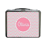 Pink and Grey Chevron Custom Lunch Box