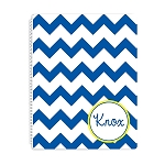 Blue Chevron Personalized Spiral Bound Notebook