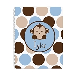 Blue Monkey Personalized Spiral Bound Notebook