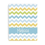 Multicolored Chevron Personalized Spiral Bound Notebook