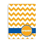 Orange Chevron Personalized Spiral Bound Notebook
