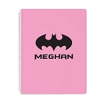 Pink Bat Signal Personalized Spiral Bound Notebook
