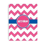 Pink Chevron Personalized Spiral Bound Notebook