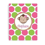 Pink Monkey Personalized Spiral Bound Notebook