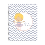 Purple and Pink Ballerina Personalized Spiral Bound Notebook
