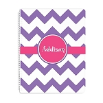 Purple Chevron Personalized Spiral Bound Notebook