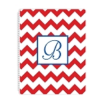 Red Chevron Personalized Spiral Bound Notebook