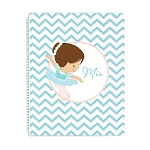 Turquoise and Pink Ballerina Personalized Spiral Bound Notebook