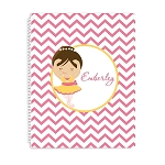 Yellow and Pink Ballerina Personalized Spiral Bound Notebook