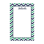 Blue and Green Chevron Custom Dots Notepad