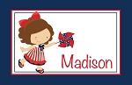 4th of July Girl Pinwheel Personalized Placemat