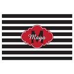 Black Striped Red Cloud Personalized Placemat
